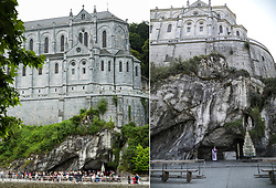 A view of the Grotte de Massabielle on June 28, 2018 (top) and a deserted Grotte de Massabielle in The Sanctuary of Our Lady of Lourdes in Lourdes, France on April 10, 2020 (bottom) as the Catholic pilgrimage site was closed to the public due on the twenty-fourth day of a strict lockdown across France to attempt to halt the spread of COVID-19, caused by the novel coronavirus. Lourdes is about to experience an unprecedented week of Easter, without faithful. Photo by Saada/ANDBZ/Thibaud Moritz/JMP/ABACAPRESS.COM