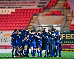 Leinster in a post game huddle<br /> <br /> Photographer Craig Thomas/Replay Images<br /> <br /> Guinness PRO14 Round 17 - Scarlets v Leinster - Friday 9th March 2018 - Parc Y Scarlets - Llanelli<br /> <br /> World Copyright © Replay Images . All rights reserved. info@replayimages.co.uk - http://replayimages.co.uk