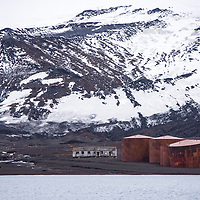 Ruins of an old Norwegian whaling station inside of the caldera of Deception Island in Antarctica.