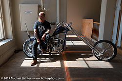 Bill Dodge on his In Motion Bike Show custom Shovelhead at the Lone Star Rally. Galveston, TX. USA. Sunday November 5, 2017. Photography ©2017 Michael Lichter.