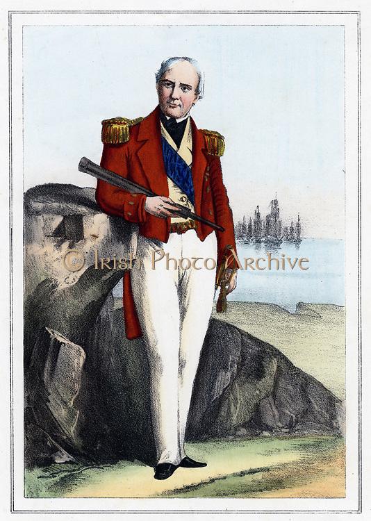 Edmund Lyons, lst Baron Lyons (1790-1858) British naval commander, 1857. Rear-Admiral of British fleet in Black Sea during Crimean (Russo-Turkish) War 1853-56. Coloured lithograph