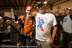 Michael Lichter and Phil Z at the Industry party at Bill Dodge's bike shop during the 2015 Biketoberfest Rally. Daytona Beach, FL, USA. October 16, 2015.  Photography ©2015 Michael Lichter.