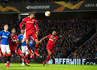Football - 2019 / 2020 UEFA Europa League - Round of Sixteen, First Leg: Rangers vs. Bayer 04 Leverkusen<br /> <br /> George Edmundson of Rangers scores to pull one back and make it 2-1, at Ibrox Stadium, Glasgow.<br /> <br /> COLORSPORT/BRUCE WHITE
