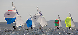 International Dragon Class Scottish Championships 2015.<br /> <br /> Day 1 racing in perfect conditions.<br /> <br /> Fleet downwind with ESP 71, Bear and GBR 793, Harry<br /> <br /> <br /> Credit Marc Turner