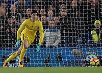 Football - 2017 / 2018 Premier League - Chelsea vs Manchester United<br /> <br /> Thibaut Courtois (Chelsea FC)  follows the ball across his goal at Stamford Bridge <br /> <br /> COLORSPORT/DANIEL BEARHAM