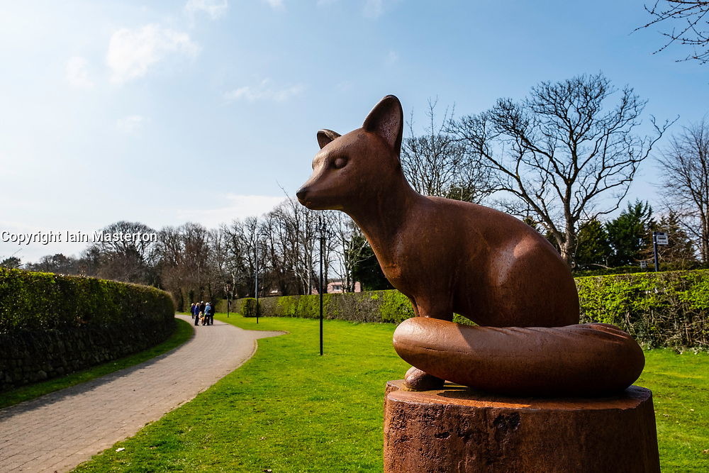 Statue of fox on  Poet's Path leading to Burns Cottage in Alloway, Ayrshire, Scotland, UK