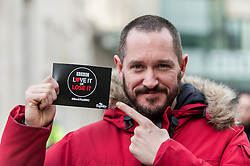 © Licensed to London News Pictures. 23/11/2015. LONDON, UK. Actor, Bertie Carvel, outside Broadcasting House in central London showing support to those gathered to oppose the threat of 20% government cuts to the Corporation which has brought shows such as Dr Who since 1922. Photo credit : Stephen Chung/LNP