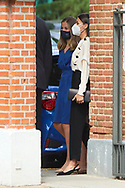 Queen Letizia of Spain attends for The Confirmation of Princess Leonor at Asuncion de Nuestra Senora Church  on May 28, 2021 in Madrid, Spain