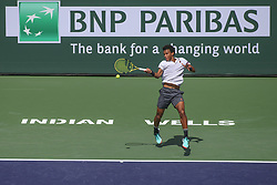 March 7, 2019 - Indian Wells, CA, U.S. - INDIAN WELLS, CA - MARCH 07: Felix Auger-Aliassime (CAN) hits a forehand during the BNP Paribas Open on March 7, 2019 at Indian Wells Tennis Garden in Indian Wells, CA. (Photo by George Walker/Icon Sportswire) (Credit Image: © George Walker/Icon SMI via ZUMA Press)
