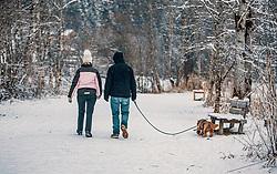 THEMENBILD - ein Paar macht einen Winterspaziergang mit ihrem Hund, aufgenommen am 04. Jänner 2020 in Kaprun, Oesterreich // a couple is going for a winter walk with their dog, in Kaprun, Austria on 2020/01/04. EXPA Pictures © 2020, PhotoCredit: EXPA/Stefanie Oberhauser