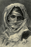 wood engraving of a portrait of a young Cairene woman in traditional headscarf From the book 'Picturesque Palestine, Sinai and Egypt : social life in Egypt; a description of the country and its people' with illustrations on Steel and Wood by Wilson, Charles William, Sir, 1836-1905; Lane-Poole, Stanley, 1854-1931. Published by J.S. Virtue in London in 1884