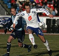 Fotball<br /> 09.04.2006<br /> Adeccoligaen 2006<br /> Haugesund v Follo <br /> <br /> Henrik Nordnes - Follo<br /> Ivar Sandvik - Haugesund<br /> <br /> Foto: Jan Kåre Ness , Digitalsport