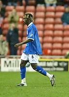 Photo. Andrew Unwin.<br /> Sunderland v Birmingham City, FA Cup Fifth Round, Stadium of Light, Sunderland 14/02/2004.<br /> Birmingham's Aliou Cisse leaves the field after being sent off.