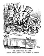 """The Mid-European Tea-Party. [""""The March Hare and the Hatter were having tea; a Dormouse was sitting between them, and the other two were resting their elbows on it, and talking over its head."""" - Alice's Adventures in Wonderland.]"""