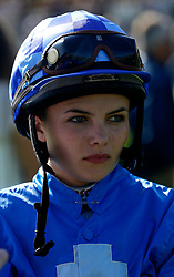 Megan Nicholls prepares to ride in The Thames Materials Ltd Apprentice Handicap Stakes Race run at Goodwood Racecourse, Chicester. PRESS ASSOCIATION Photo. Picture date: Friday August 25, 2017. See PA story RACING Goodwood. Photo credit should read: Julian Herbert/PA Wire.