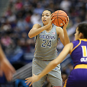 HARTFORD, CONNECTICUT- JANUARY 4: Napheesa Collier #24 of the Connecticut Huskies defended by Thais Oliveira #15 of the East Carolina Lady Pirates during the UConn Huskies Vs East Carolina Pirates, NCAA Women's Basketball game on January 4th, 2017 at the XL Center, Hartford, Connecticut. (Photo by Tim Clayton/Corbis via Getty Images)