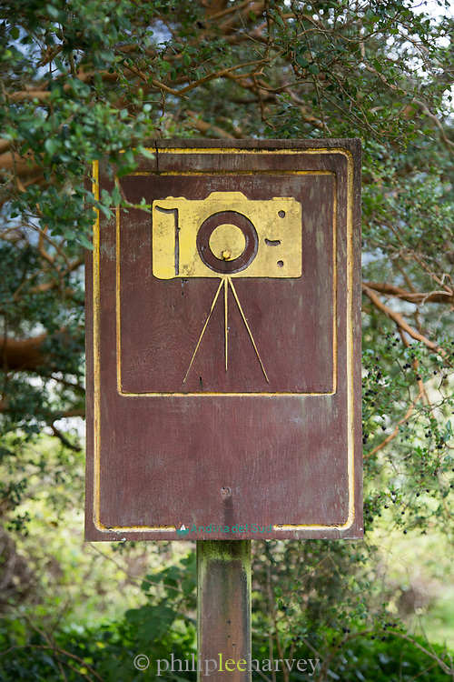 Close up of camera sign in national park, Chile