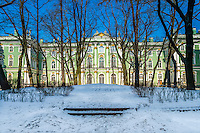 View of the Winter Palace in Saint Petersburg from the interior patio during winter time
