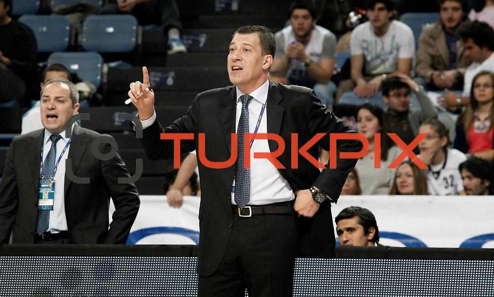 Efes Pilsen's coach Ufuk SARICA during their Turkish Basketball Legague Play-Off qualifying first match Efes Pilsen between Pinar Karsiyaka at the Sinan Erdem Arena in Istanbul Turkey on Wednesday 11 May 2011. Photo by TURKPIX