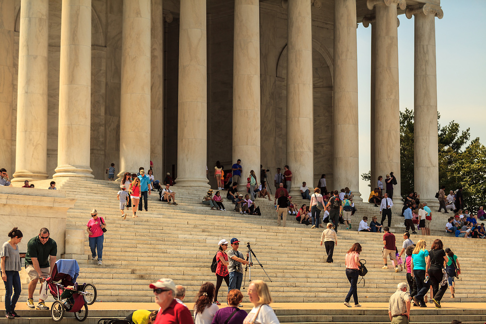 Washington, DC - April 11, 2013:  Visitors at  the Thomas Jefferson Memorial located at the Tidal Basin off the Washington Channel of the Potomac River.