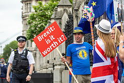 © Licensed to London News Pictures. 20/06/2018. London, UK. Anti-Brexit protesters wave European Union flags at a demonstration opposite Parliament as MPs prepare to debate the EU Withdrawal Bill. Photo credit: Rob Pinney/LNP