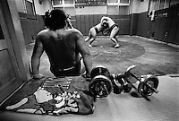JAPAN --- Sumo wrestling in Japan.. --- Photo by Tom Wagner/Corbis SABA