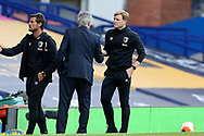 Bournemouth Manager Eddie Howe and Everton Manager Carlo Ancelotti  shake hands at the end of the match the Premier League match between Everton and Bournemouth at Goodison Park, Liverpool, England on 26 July 2020.