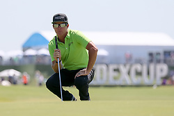 May 18, 2018 - Dallas, TX, U.S. - DALLAS, TX - MAY 18: Brian Gay lines up his putt on #16 during the second round of the 50th anniversary AT&T Byron Nelson on May 18, 2018 at Trinity Forest Golf Club in Dallas, TX.  (Photo by Andrew Dieb/Icon Sportswire) (Credit Image: © Andrew Dieb/Icon SMI via ZUMA Press)