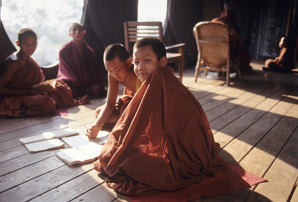 Young Monks studying at Teak 19th century Shwe Yan Pyay Monastery,