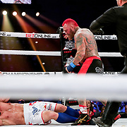 TAMPA, FL - FEBRUARY 05: Chris Leben knocks out Quentin Henry during the BKFC KnuckleMania event at RP Funding Center on February 5, 2021 in Tampa, Florida. (Photo by Alex Menendez/Getty Images) *** Local Caption *** Chris Leben; Quentin Henry