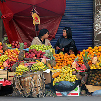 South America, Bolivia, La Paz. Fruit vendor.
