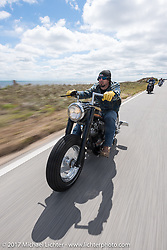 Nick Jordan of Aynor, SC riding his 1973 Harley-Davidson Speedking Shovel Chopper (built by Jeff Cochran) along AIA near Flager Beach during Daytona Beach Bike Week. FL. USA. Tuesday, March 14, 2017. Photography ©2017 Michael Lichter.