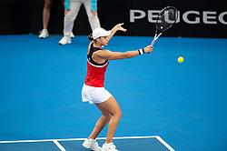 January 10, 2019 - Sydney, NSW, U.S. - SYDNEY, AUSTRALIA - JANUARY 10: Ashleigh Barty (AUS) hits a backhand at The Sydney International Tennis in the game between Ashleigh Barty (AUS) and Elise Mertens (BEL) on January 10, 2018, at Sydney Olympic Park Tennis Centre in Homebush, Australia. (Photo by Speed Media/Icon Sportswire) (Credit Image: © Steven Markham/Icon SMI via ZUMA Press)