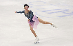 © Licensed to London News Pictures. 27/01/2017. Ostrava, CZ. Evgenia Medvedeva, from Russia, performs her Ladies Free Skating routine during the ISU European Figure Skating Championships in the Ostrava Arena in Ostrava, Czech Republic, on Friday January 27, 2017. Photo credit: Isabel Infantes/LNP