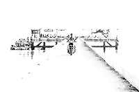 Bon Voyage (B&W): A minimalist view of a mid-day ocean side dock, makes an abstract impression, Ko Muk Thailand.