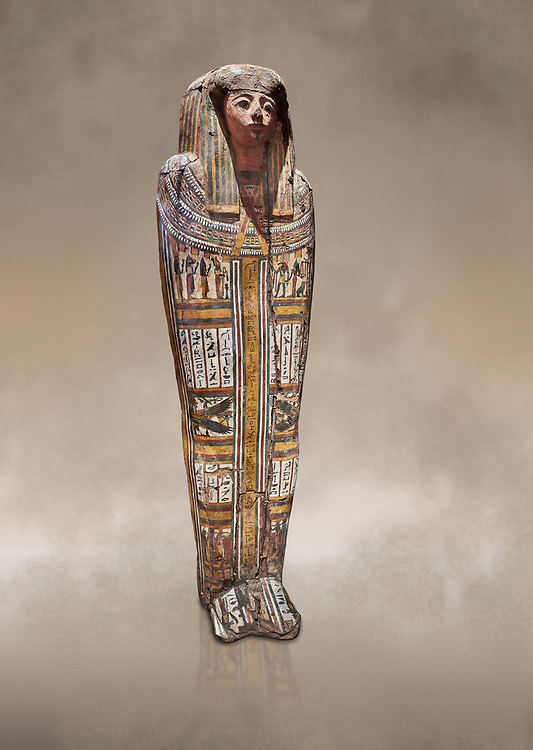 """Ancient Egyptian wooden sarcophagus - the tomb of Tagiaset, Iuefdi & Harwa circa 22nd Dynasty (943 - 716 BC.) Thebes. Egyptian Museum, Turin. <br /> <br /> Coffin lid of the eldest woman buried in the tomb, probably Tagiasettahekat, wife of Padiau. The sarcophagus decoration includes representation of strips crossed over her chest typical of """"stoa coffin"""" of the 22nd dynasty. .<br /> <br /> If you prefer to buy from our ALAMY PHOTO LIBRARY  Collection visit : https://www.alamy.com/portfolio/paul-williams-funkystock/ancient-egyptian-art-artefacts.html  . Type -   Turin   - into the LOWER SEARCH WITHIN GALLERY box. Refine search by adding background colour, subject etc<br /> <br /> Visit our ANCIENT WORLD PHOTO COLLECTIONS for more photos to download or buy as wall art prints https://funkystock.photoshelter.com/gallery-collection/Ancient-World-Art-Antiquities-Historic-Sites-Pictures-Images-of/C00006u26yqSkDOM"""