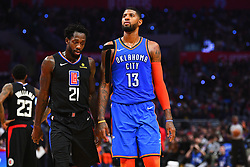 March 9, 2019 - Los Angeles, CA, U.S. - LOS ANGELES, CA - MARCH 08: Los Angeles Clippers Guard Patrick Beverley (21) and Oklahoma City Thunder Forward Paul George (13) look on during a NBA game between the Oklahoma City Thunder and the Los Angeles Clippers on March 8, 2019 at STAPLES Center in Los Angeles, CA. (Photo by Brian Rothmuller/Icon Sportswire) (Credit Image: © Brian Rothmuller/Icon SMI via ZUMA Press)