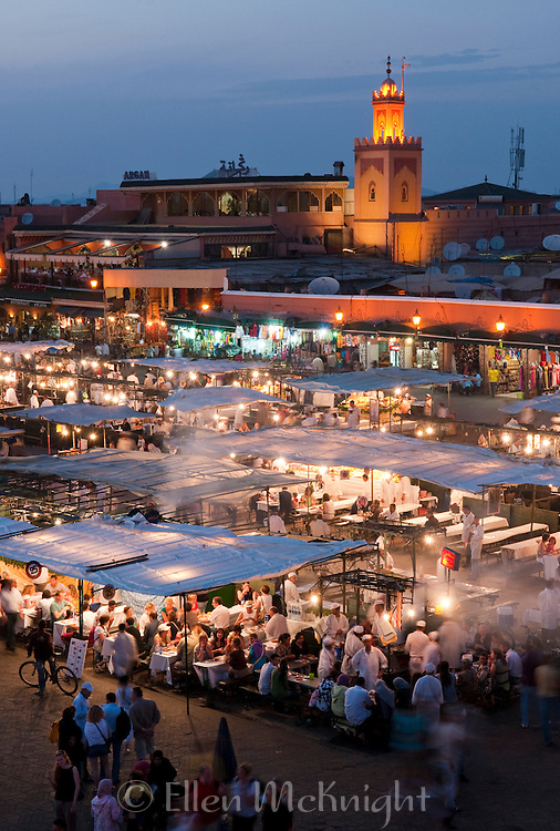 Place Jemaa el-Fna at twilight in Marrakech, Morocco