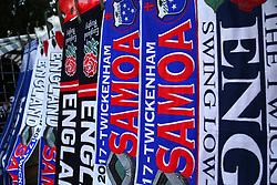 England and Somoa scarves on sale before the Autumn International at Twickenham Stadium, London.
