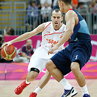 02 August 2012: Spain Sergio Rodriguez brings the ball upcourt during 79-78 Team Spain victory over Team Great Britain, during the men's basketball preliminary, at the Basketball Arena, in London, Great Britain.