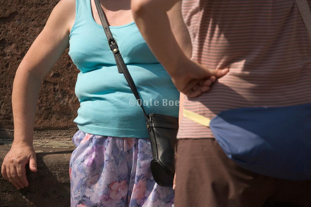 torso of a sturdy woman in summer dress