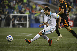 October 8, 2018 - Seattle, Washington, U.S - Seattle midfielder VICTOR RODRIGUEZ (8) sends the ball towards the Dynamo net as the Houston Dynamo visits the Seattle Sounders in a MLS match at Century Link Field in Seattle, WA. Seattle won the match 4-1. (Credit Image: © Jeff Halstead/ZUMA Wire)