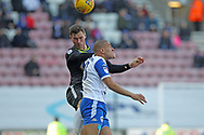Harrison McGahey clears during the EFL Sky Bet League 1 match between Wigan Athletic and Rochdale at the DW Stadium, Wigan, England on 24 February 2018. Picture by Daniel Youngs.