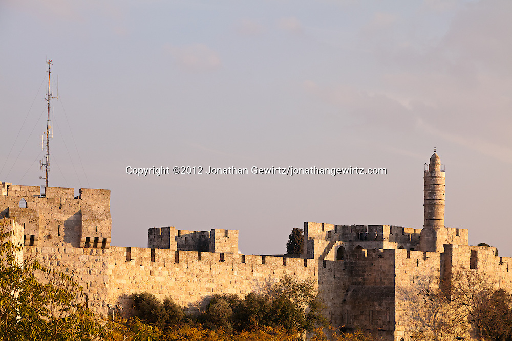 The Citadel of David and walls of Jerusalem's Old City. WATERMARKS WILL NOT APPEAR ON PRINTS OR LICENSED IMAGES.
