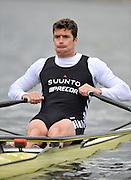 Hazewinkel, BELGIUM,  Men's Single Sculls. GBR M1X, Greg SEARLE, at the start of his race in the Sunday Afternoon Semi Finals at the British Rowing Senior Trails, Bloso Rowing Centre. Sunday,  11/04/2010. [Mandatory Credit. Peter Spurrier/Intersport Images]