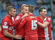 Jordan Rhodes of Blackburn Rovers is congratulated on his 2nd goal against Huddersfield during the Sky Bet Championship match at the John Smiths Stadium, Huddersfield<br /> Picture by Graham Crowther/Focus Images Ltd +44 7763 140036<br /> 15/03/2014