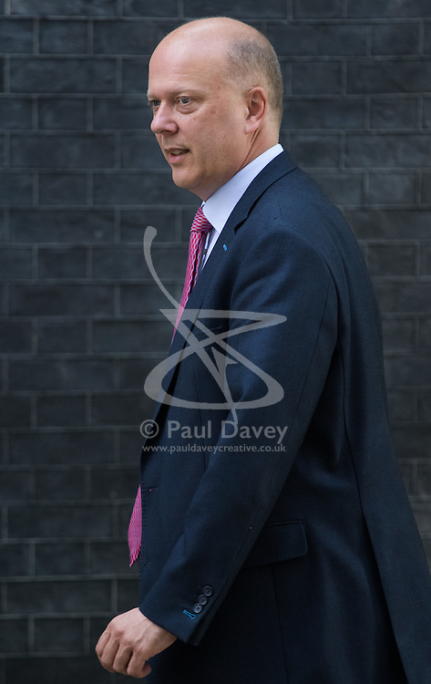 Leader of the House of Commons Chris Grayling arrives at Prime Minister David Cameron's final cabinet meeting following Theresa May's anticipated takeover as Leader of the Conservative Party and Prime Minister