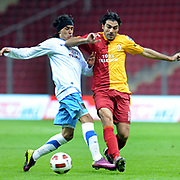 Galatasaray's Mustafa SARP (R) and Trabzonspor's Gustavo COLMAN (L) during their Turkish superleague soccer derby match Galatasaray between Trabzonspor at the TT Arena in Istanbul Turkey on Sunday, 10 April 2011. Photo by TURKPIX