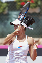 April 21, 2018 - La Manga, Murcia, Spain - Veronica Cepede Royg of Paraguay in action in his match against  Carla Suarez Navarro of Spain during day one of the Fedcup World Group II Play-offs match between Spain and Paraguay at Centro de Tenis La Manga Club on April 21, 2018 in La Manga, Spain  (Credit Image: © David Aliaga/NurPhoto via ZUMA Press)