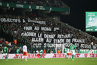 FOOTBALL - FRENCH CHAMPIONSHIP 2011/2012 - L1 - AS SAINT ETIENNE v MONTPELLIER HSC  - 6/11/2011 - PHOTO EDDY LEMAISTRE / DPPI - TIFO FOR SAINT ETIENNE PLAYERS